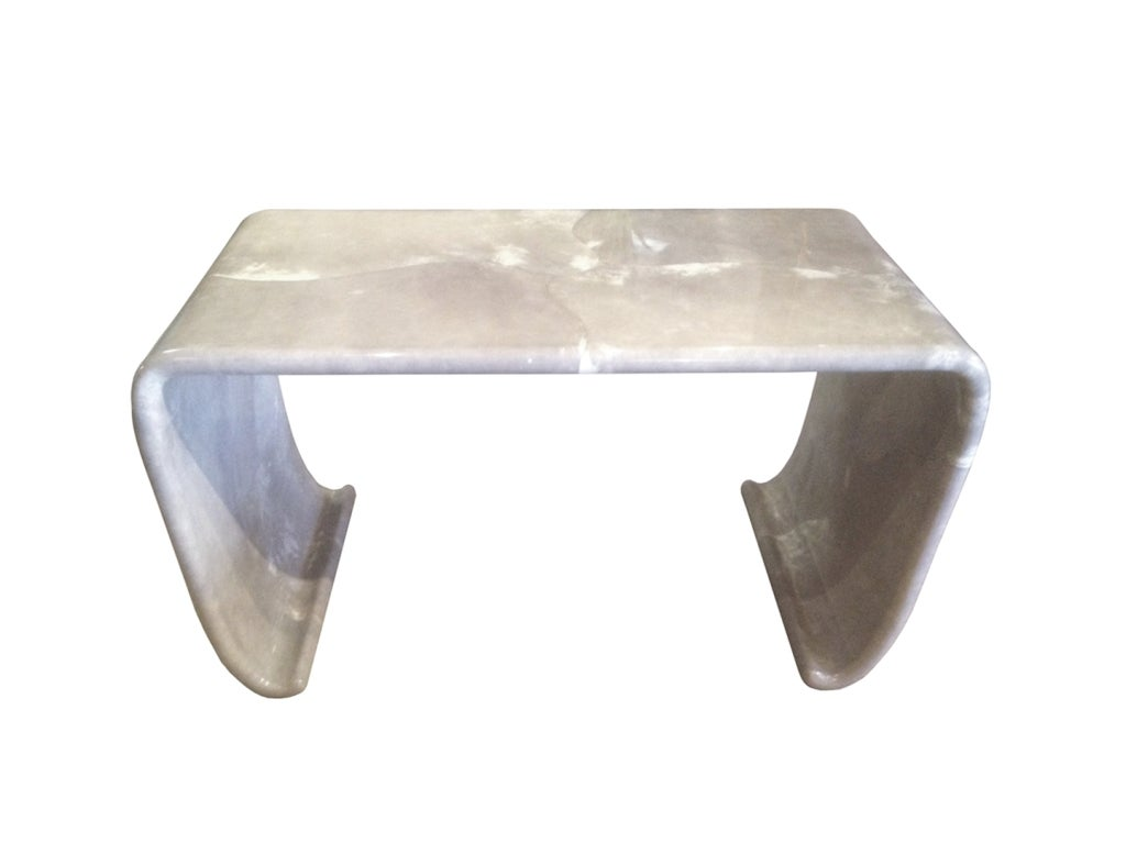 Waterfall Console Table in Gray Goatskin By Karl Springer 2
