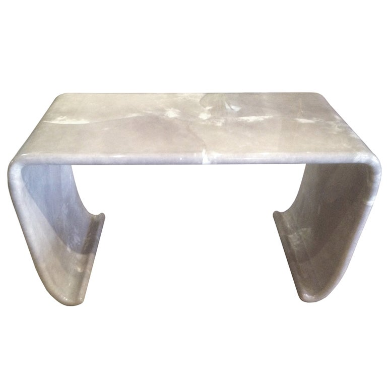 Waterfall Console Table in Gray Goatskin By Karl Springer 1