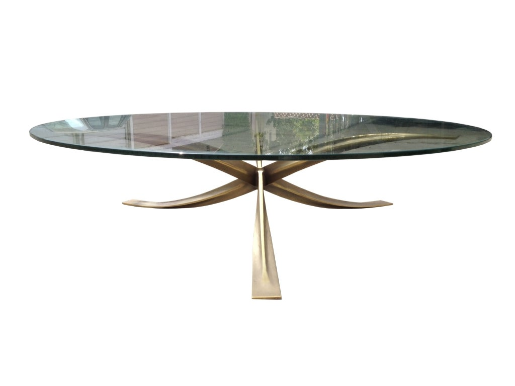 Bronze and glass french coffee table by michel mangematin for French glass coffee table