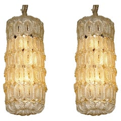 Pair of Barovier et Toso chandeliers Clear & Gold Murano Glass