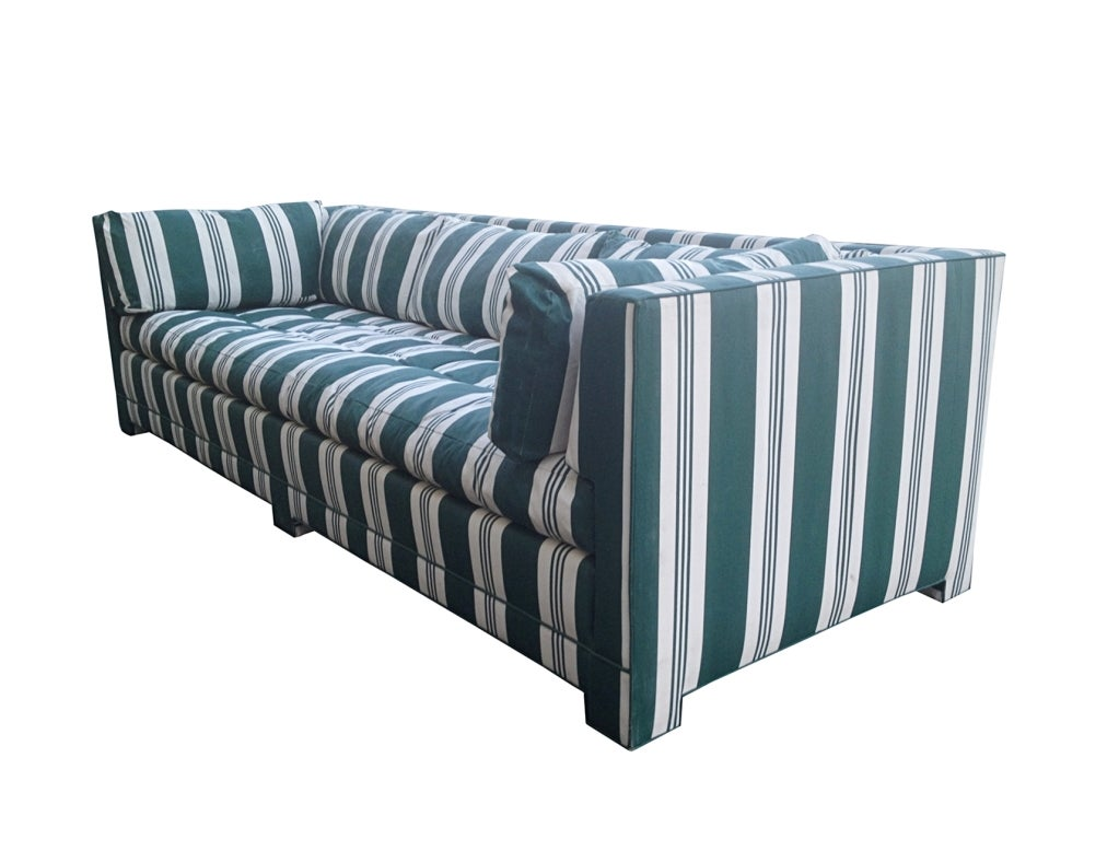 John Widdicomb Sofa Upholstered In Striped Sunbrella