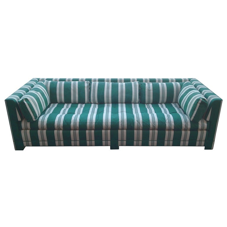 John Widdicomb Sofa Upholstered In Striped Sunbrella Fabric 1