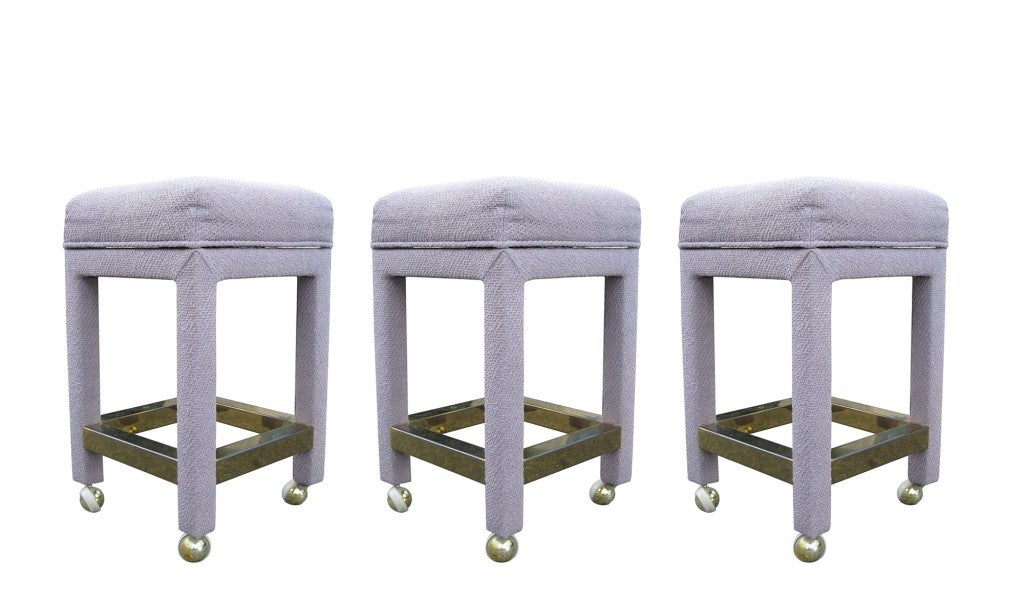 Set of 3 Bar Stools with Brass Footrests attb to Milo Baughman 2