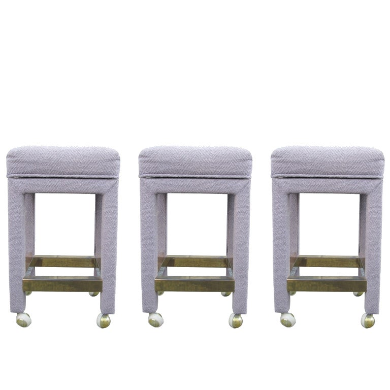 Set of 3 Bar Stools with Brass Footrests attb to Milo Baughman 1