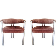 Pair of DeSede Armchairs with Tubular Frames