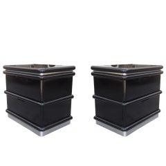 Jay Spectre Nightstands in Black Lacquer and Brushed Chrome Plinth