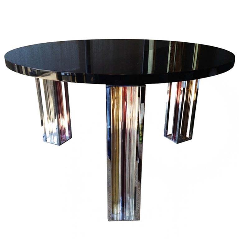 Murano Glass and Chrome Dining Table by Rodolfo Dordoni for Venini For Sale