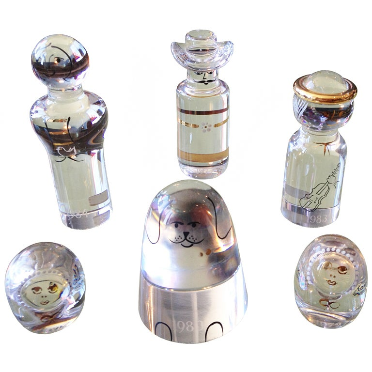 Set Of 6 Kosta Boda Glass Paper Weights at 1stdibs