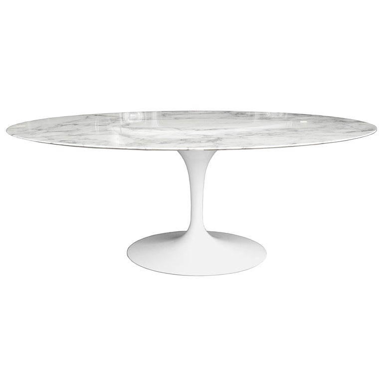 Saarinen Tulip Oval Dining Table For Knoll In Calacatta Marble
