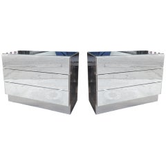 Pair of Chrome and Mirror Dressers attb to Ello Furniture