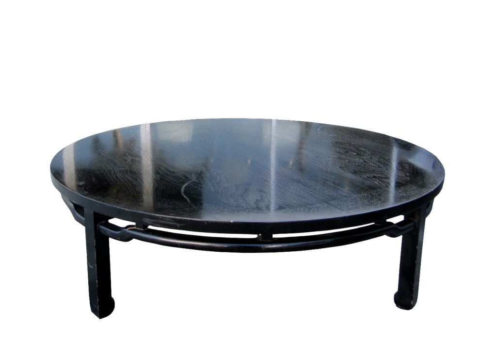 Handsome coffee table by Baker Furniture, in black lacquer finish, early 1960s, not often seen design.