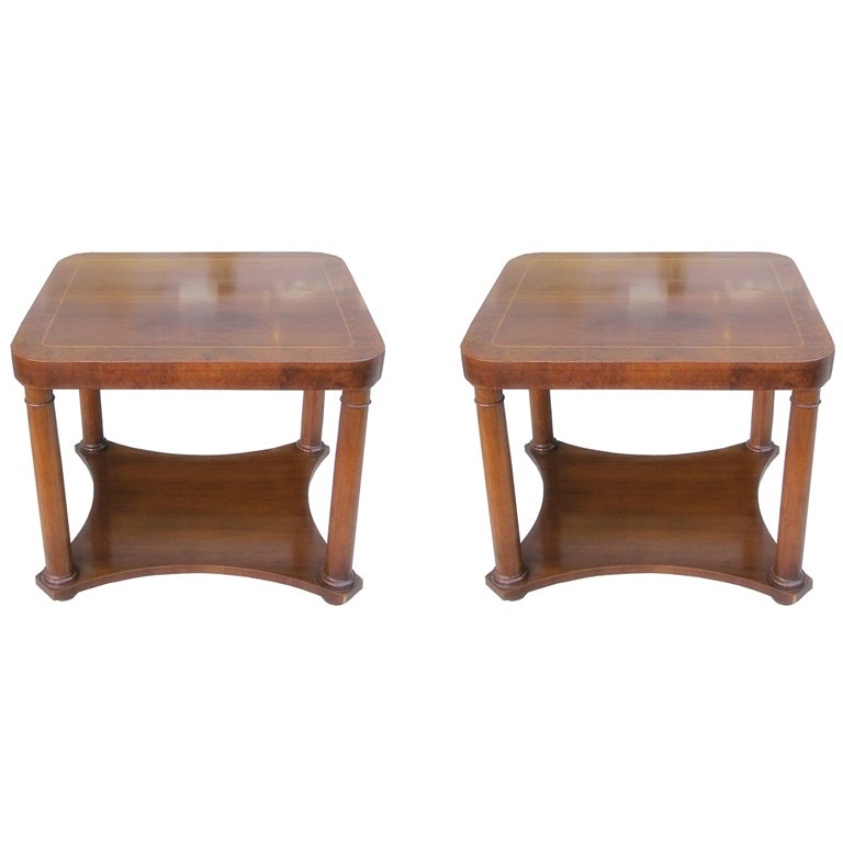 Pair Of Empire Style Column Tables By Baker Furniture For Sale At 1stdibs