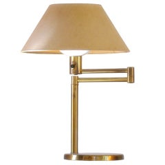Swing Arm Table Lamp in Brass By Walter Von Nessen