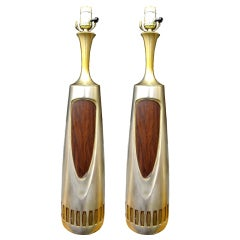 Pair of 1960s Brass Lamps by Laurel Lighting