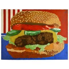 Iconic Pop Image of an American Cheese Burger, Mixed Media
