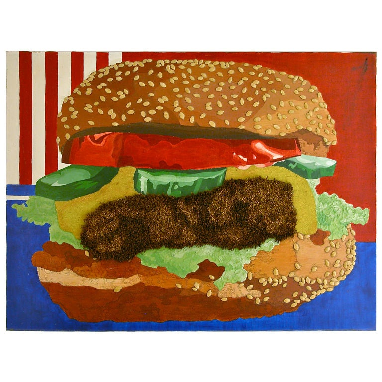 Iconic Pop Image of an American Cheese Burger, Mixed Media For Sale