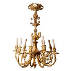19th Century French Champleve Enamel and Bronze Nine-Light Chandelier