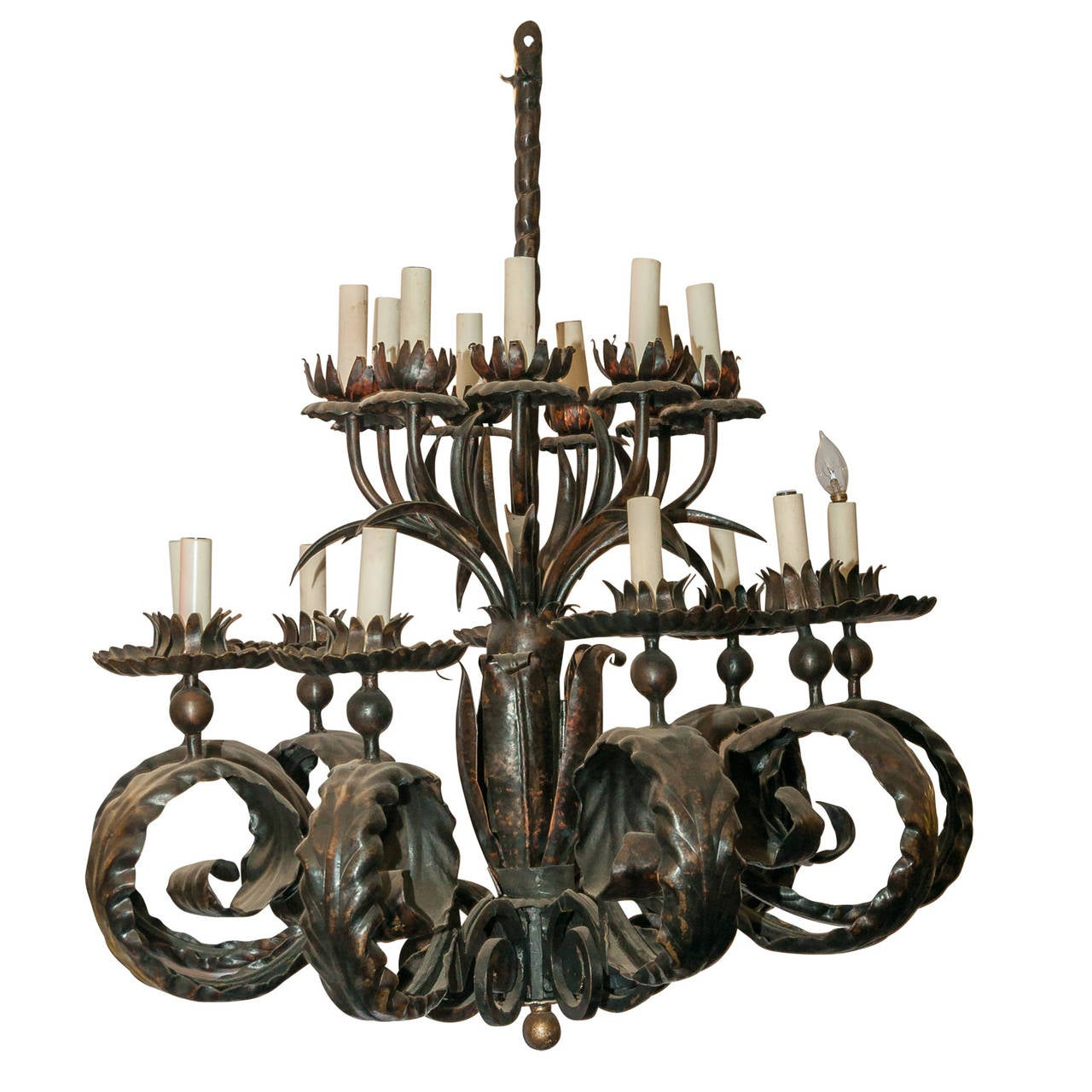 Large arts and crafts style patinated bronze chandelier for Arts and crafts chandelier