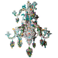 Two-Tier Meissen Porcelain Chandelier with Birds and Flower Decorations