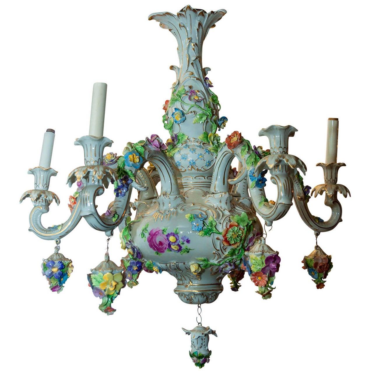 Dresden porcelain floral design six light figural cherub dresden porcelain floral design six light figural cherub chandelier 1 arubaitofo Images