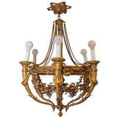 Very Fine Louis XVI Style Bronze Six-Light Chandelier