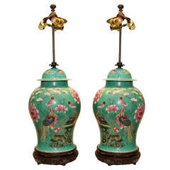 Pair of Chinese Famillie Rose Table Lamps