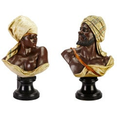 Pair of Large Austrian Cold Painted Copper Busts of North African Companions