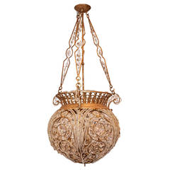 Large and Impressive Baguès Style Dome Shape Beaded Chandelier