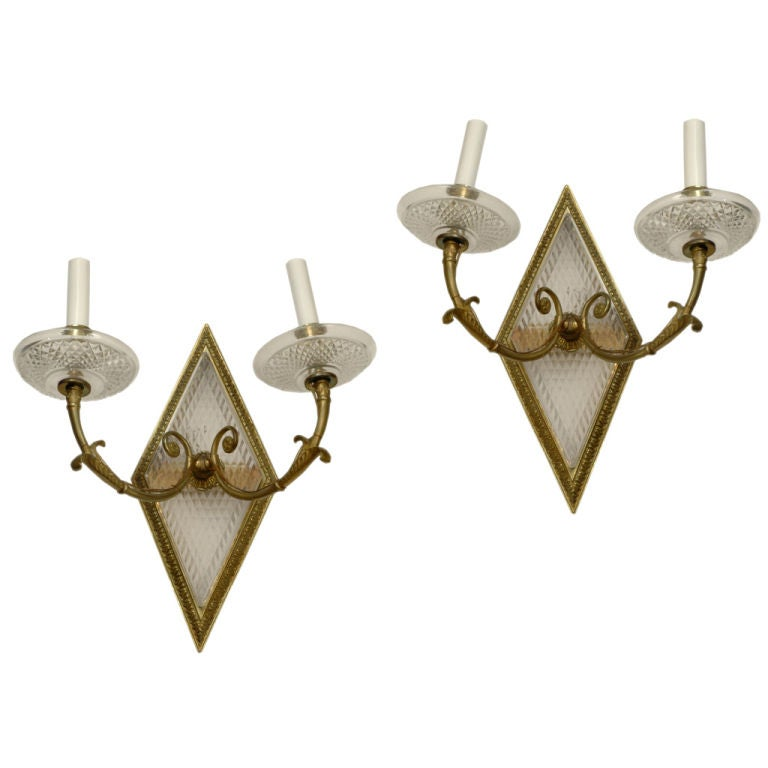 Chic Pair of Crystal and Bronze Two-Arm Sconces Wall Lights