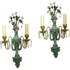 Pair of Green Patina and Gilt Bronze Classical Two-Arm Sconces