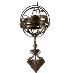 Gilt Bronze Armillary With Celestial Globe on Tripod Base