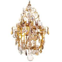 Fine Louis XV Style Gilt Bronze and Multi-Color Crystal, Twelve-Light Chandelier