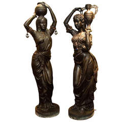 Pair of Lifesize Orientalist Bronze Figures of Young Beauties