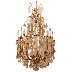 Louis XV Style Gilt Bronze and Crystal Twelve-Light Chandelier