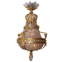 19th Century French Bronze and Crystal Chandelier Attributed to Baccarat