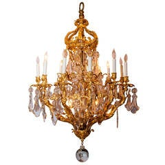 19th Century French Fifteen-Light Crystal and Bronze Crown Shaped Top Chandelier