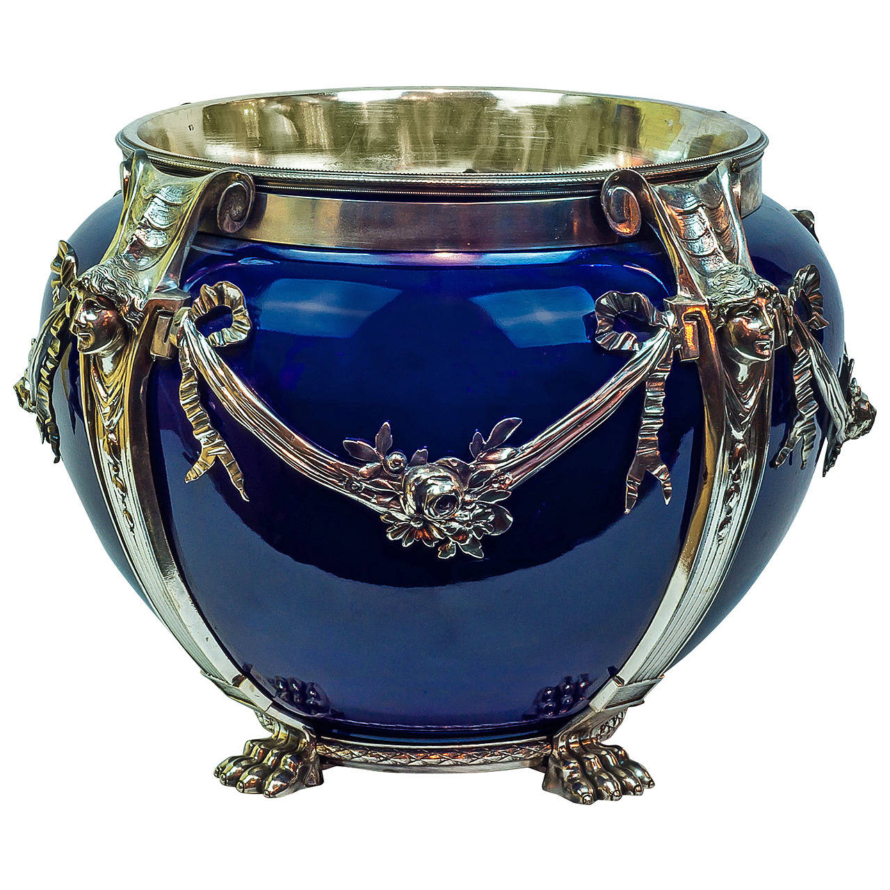 French silvered bronze and porcelain cobalt blue
