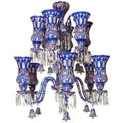 Bohemian Blue to Clear Overlay Glass Palace Size Twelve-Light Chandelier