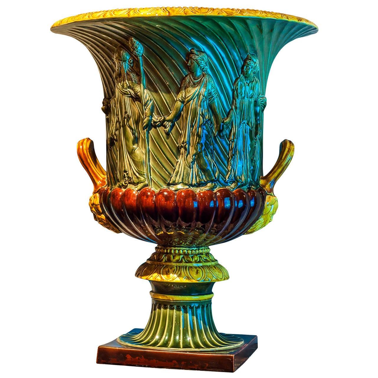 Majolica campana form neoclassical jardiniere vase for Jardiniere decorative