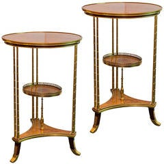 Pair of Russian Empire Style Neoclassical Bronze-Mounted Round Side Tables