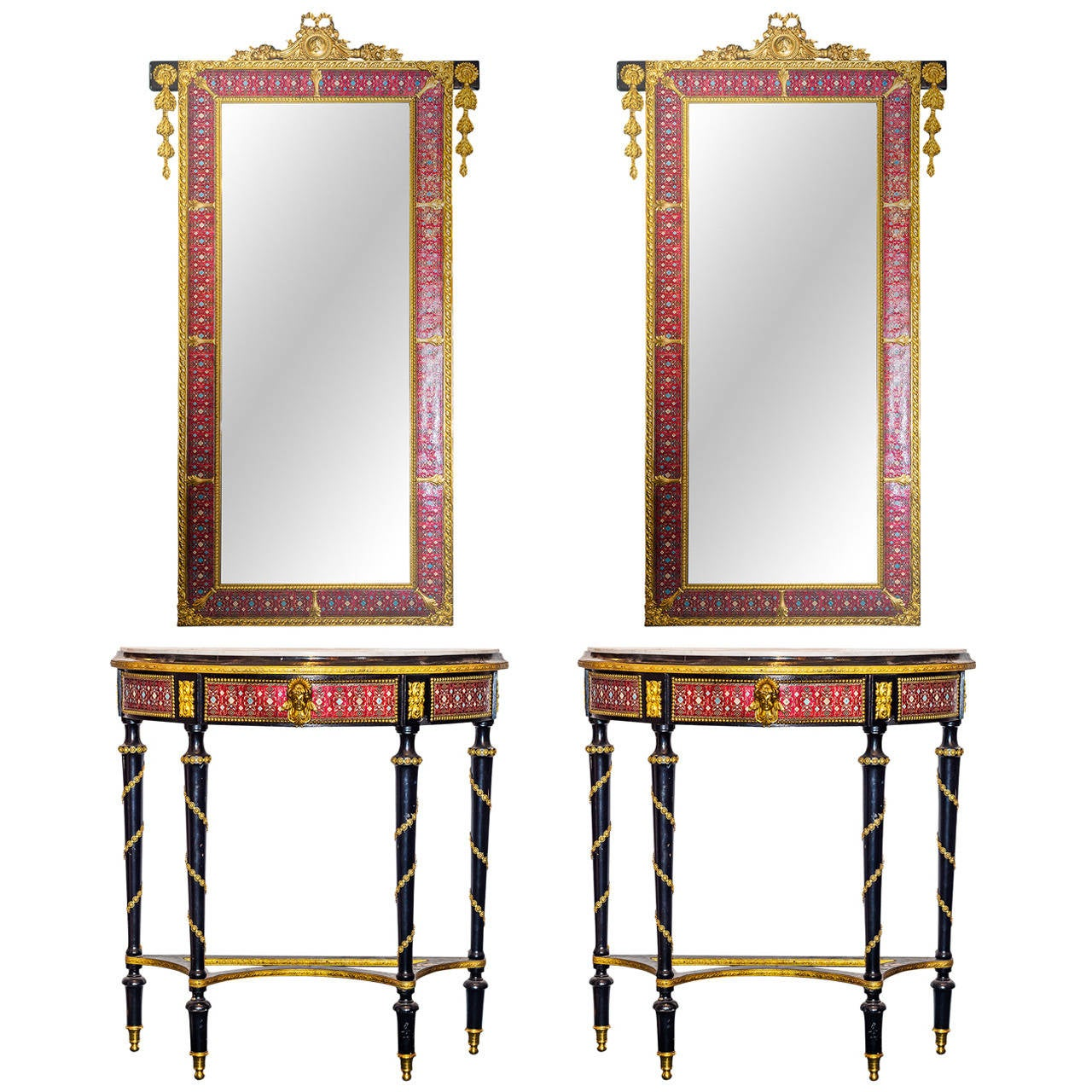 Pair Of Gilt Bronze And Enamel Demilune Consoles And