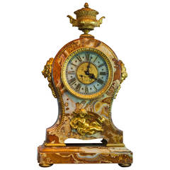 Palace Size French Gilt Bronze and Onyx Mantel Clock