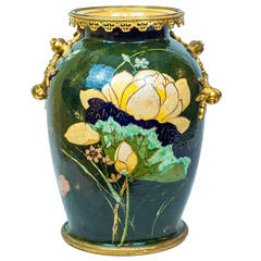 Unusual French Porcelain and Bronze Aesthetic Vase with Floral Decorations