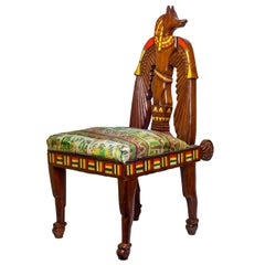 Unusual Egyptian Revival Inlaid Figural Side Chair