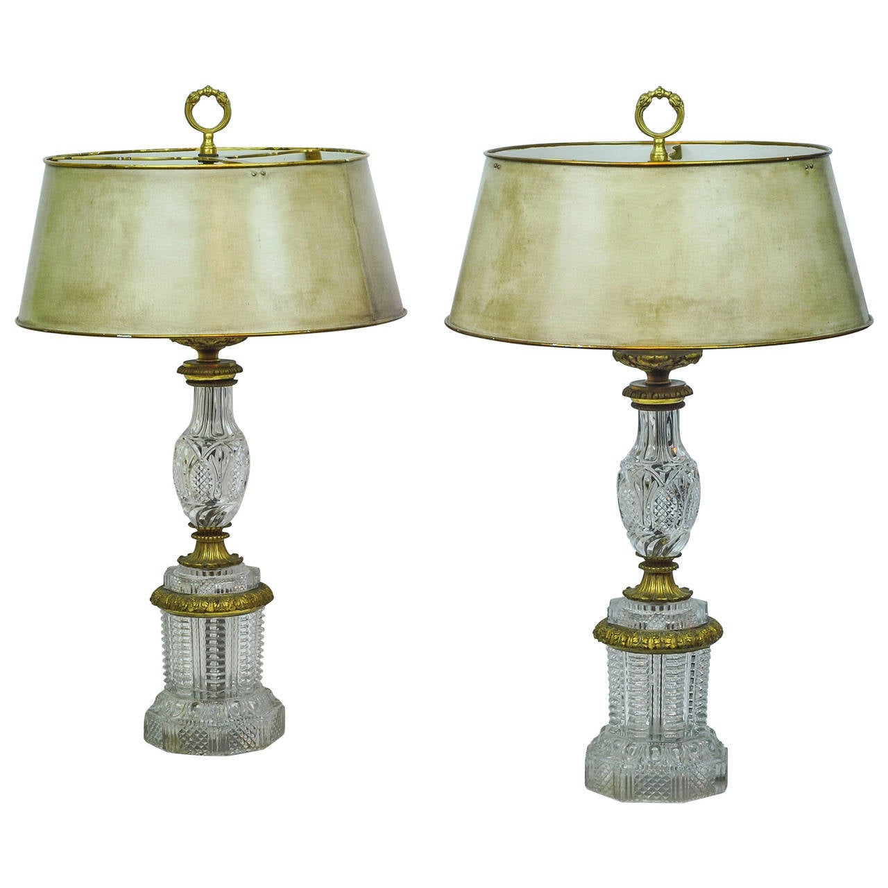 Lovely Pair Of French Empire Style Crystal And Bronze Table Lamps 1
