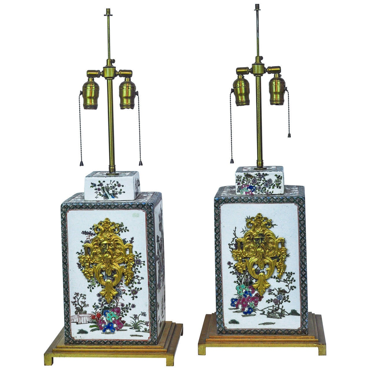 Pair of Oriental Porcelain and Bronze Table Lamps