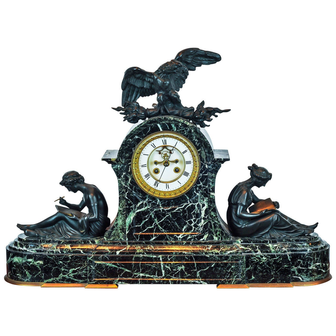 Neoclassical Patinated and Gilt Bronze and Marble Figural Mantel Clock