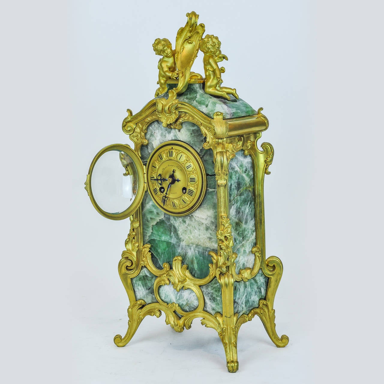 Unusual louis xv style marble and bronze figural mantel Unique clocks for sale