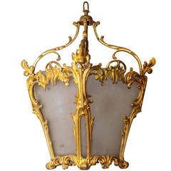 French Gilt Bronze and Mat Etched Glass Lantern