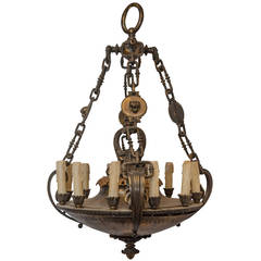 Empire Style Patinated Bronze Twelve-Light Chandelier